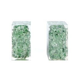 Madegoods Jessie Bookends - Jade/Clear, Glass/Resin