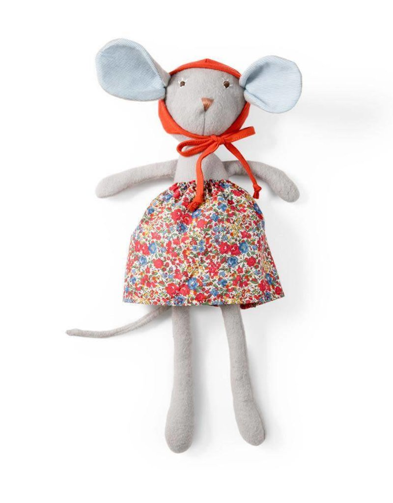 "Catalina Mouse 14"" in hedgerow skirt and red bonnet"