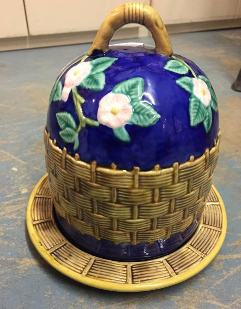 Vintage Blue Majolica Cheese Dome w/ Base
