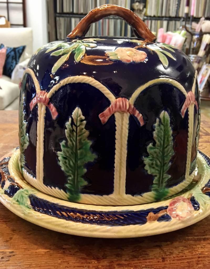 Vintage Lg Majolica Cheese Dome