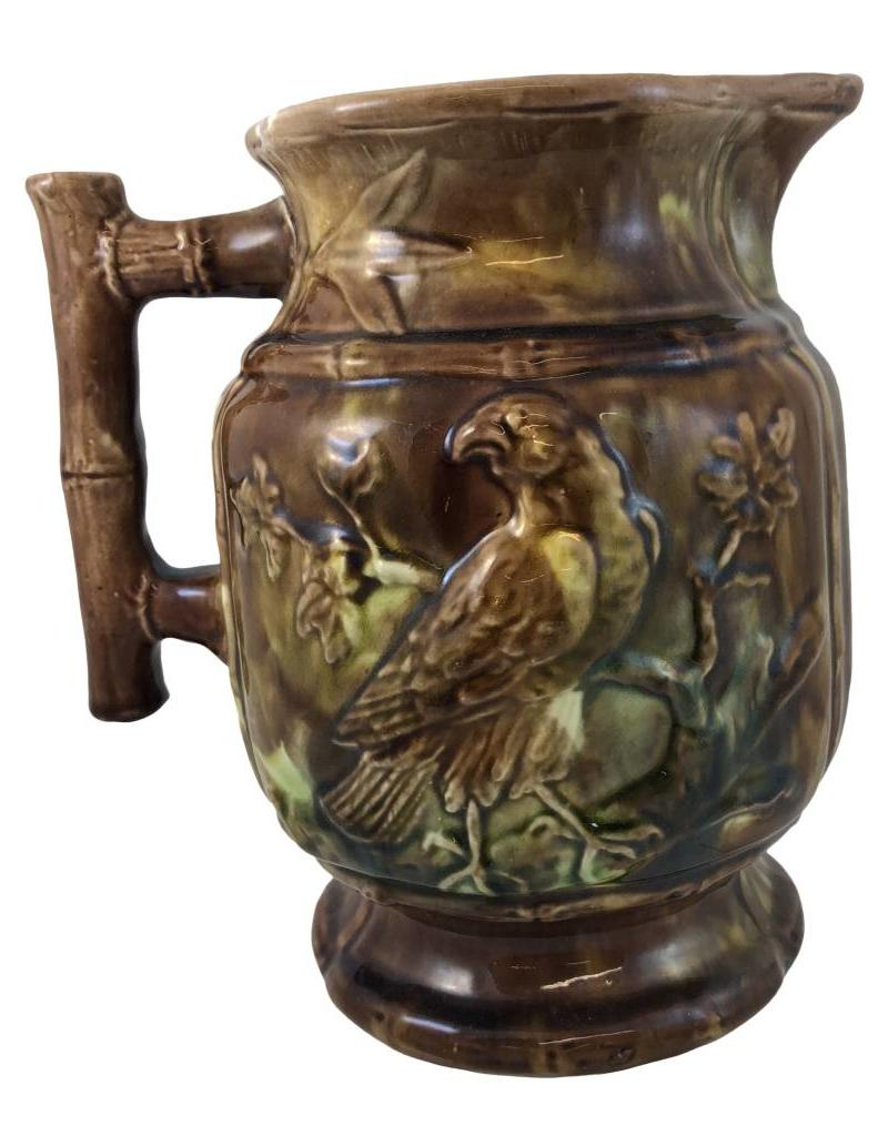 Vintage 20th Century English Traditional Brown Majolica Pitcher