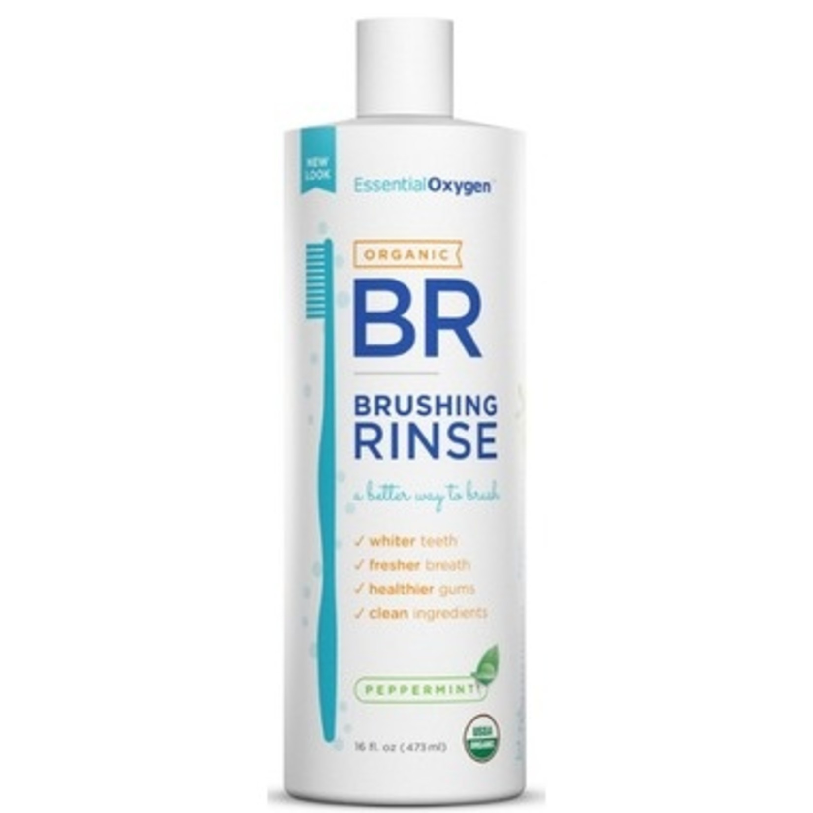 Essential Oxygen Essential Oxygen Brushing Rinse Organic Peppermint 16oz