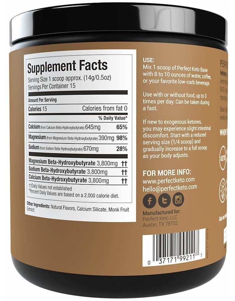 Perfect Keto Keto Base Exogenous Ketones Coffee 191g