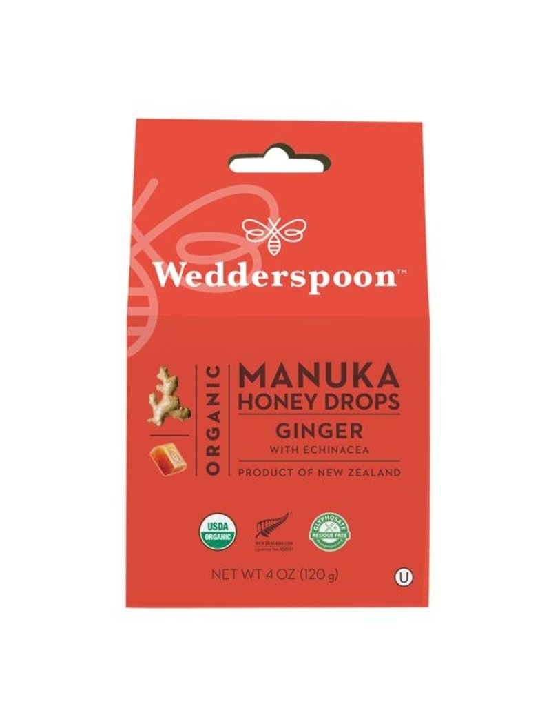 Wedderspoon Manuka Honey Drops - Ginger with Echinacea 120g