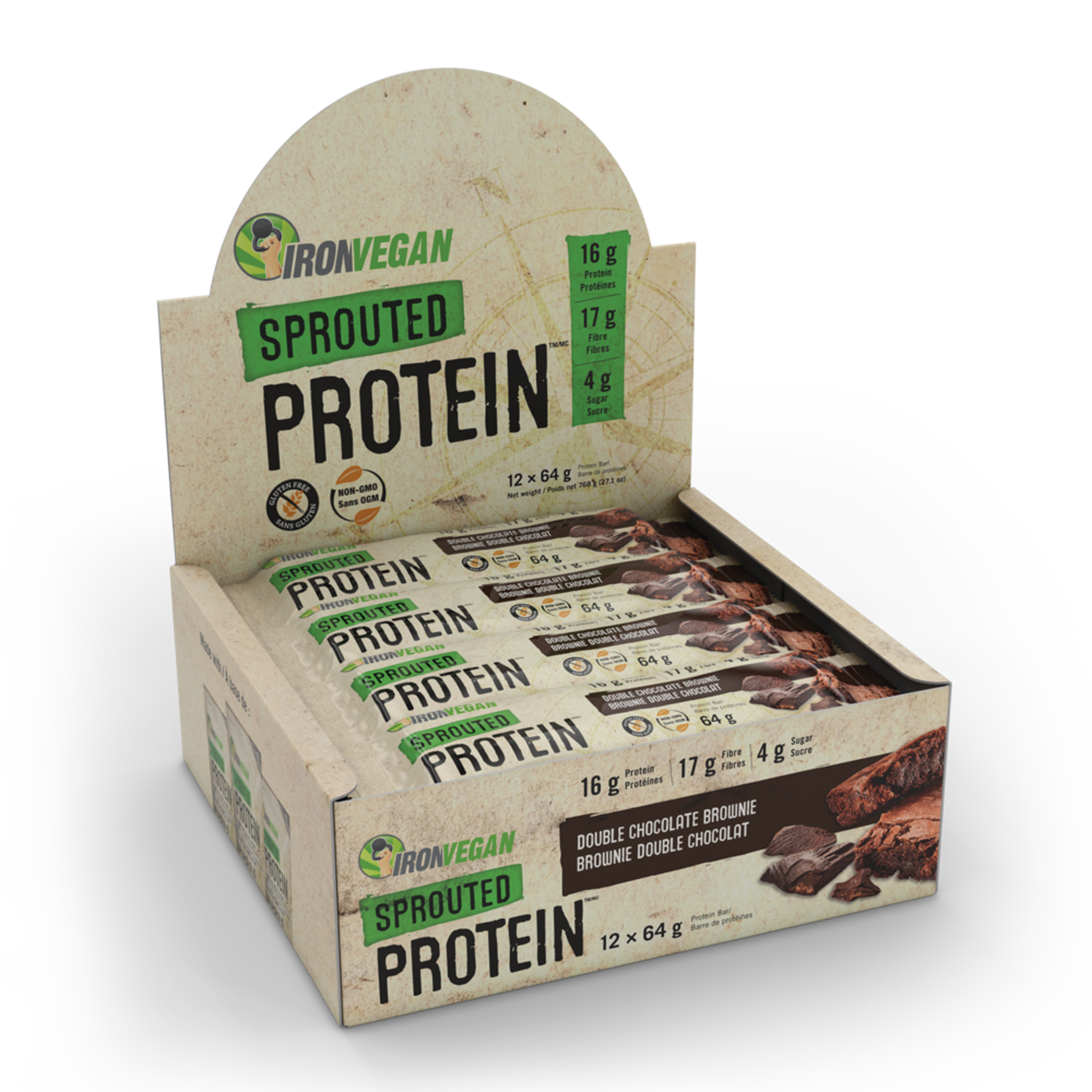 Iron Vegan Iron Vegan Protein Bar Double Chocolate Brownie- Box of 12