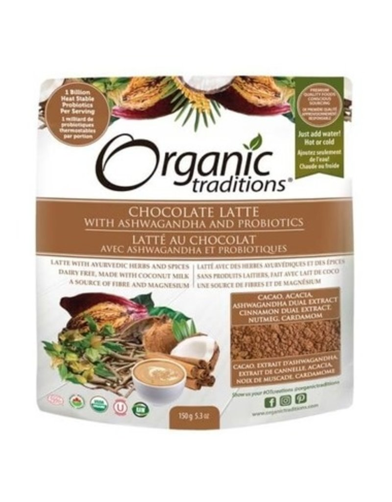 Organic Traditions Organic Traditions Chocolate Latte with Ashwagandha and Probiotics 150g