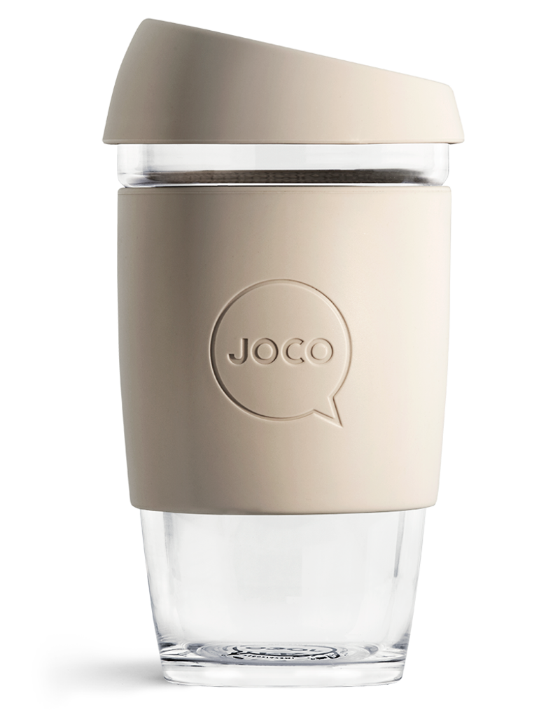 Joco Reusable Glass Cup 16oz Sandstone