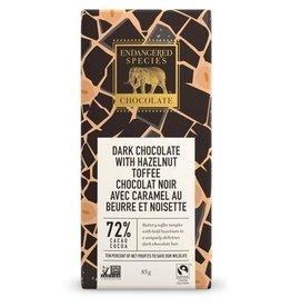 Endangered Species Dark Chocolate with Hazelnut Toffee 72% Cacao 85g