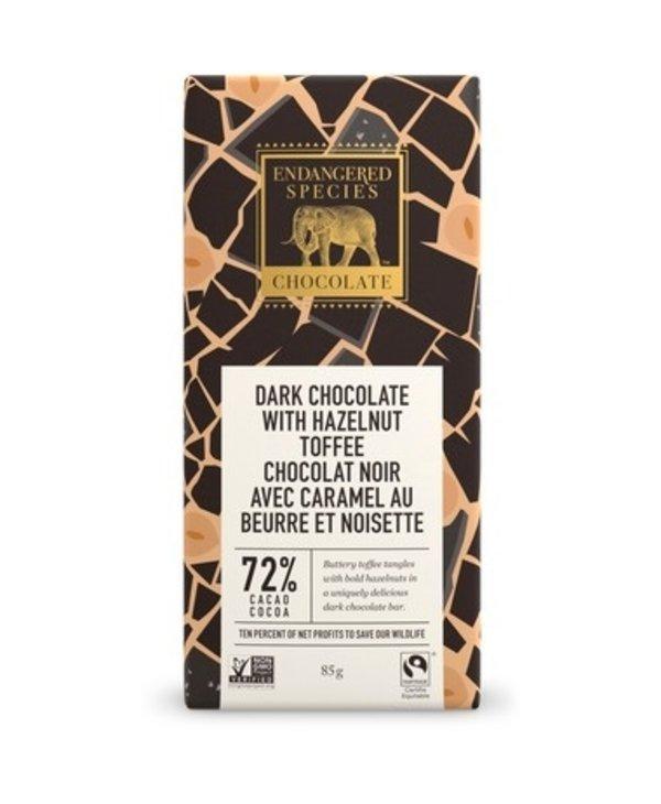 Dark Chocolate with Hazelnut Toffee 72% Cacao 85g