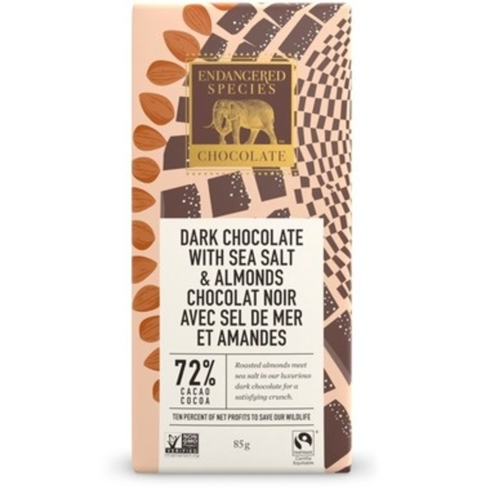 Endangered Species Dark Chocolate with Sea Salt and Almonds 72% Cacao 85g