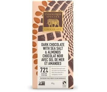 Dark Chocolate with Sea Salt and Almonds 72% Cacao 85g