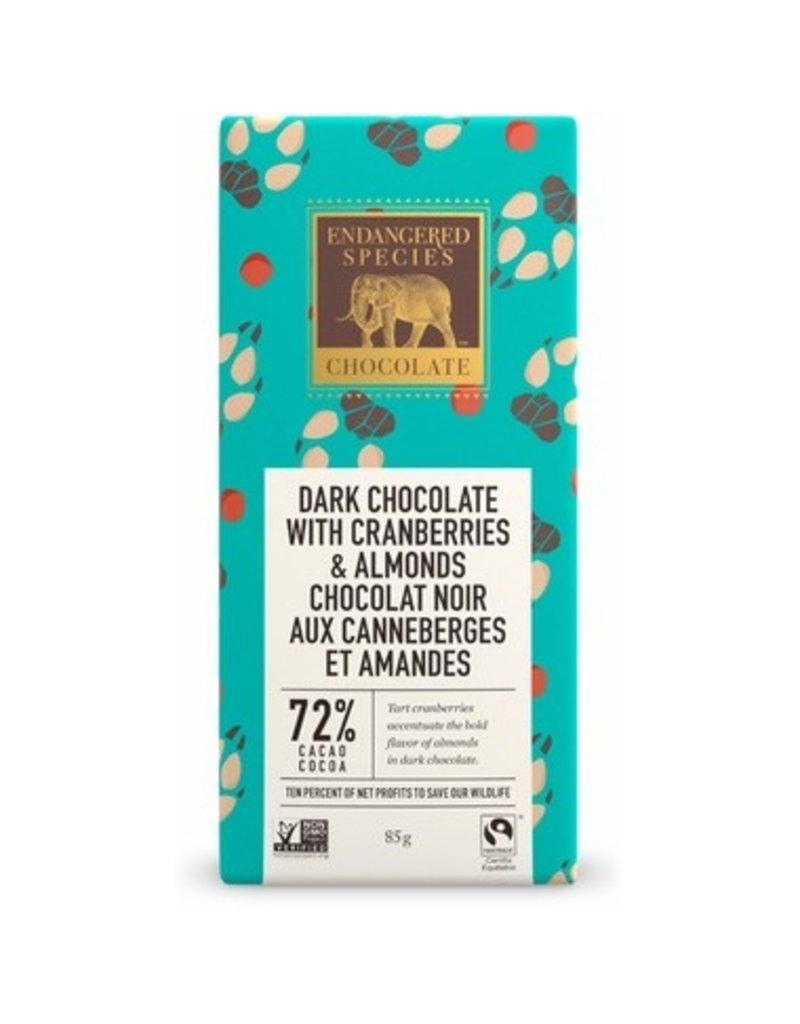 Endangered Species Dark Chocolate with Cranberries & Almonds 72% 85g