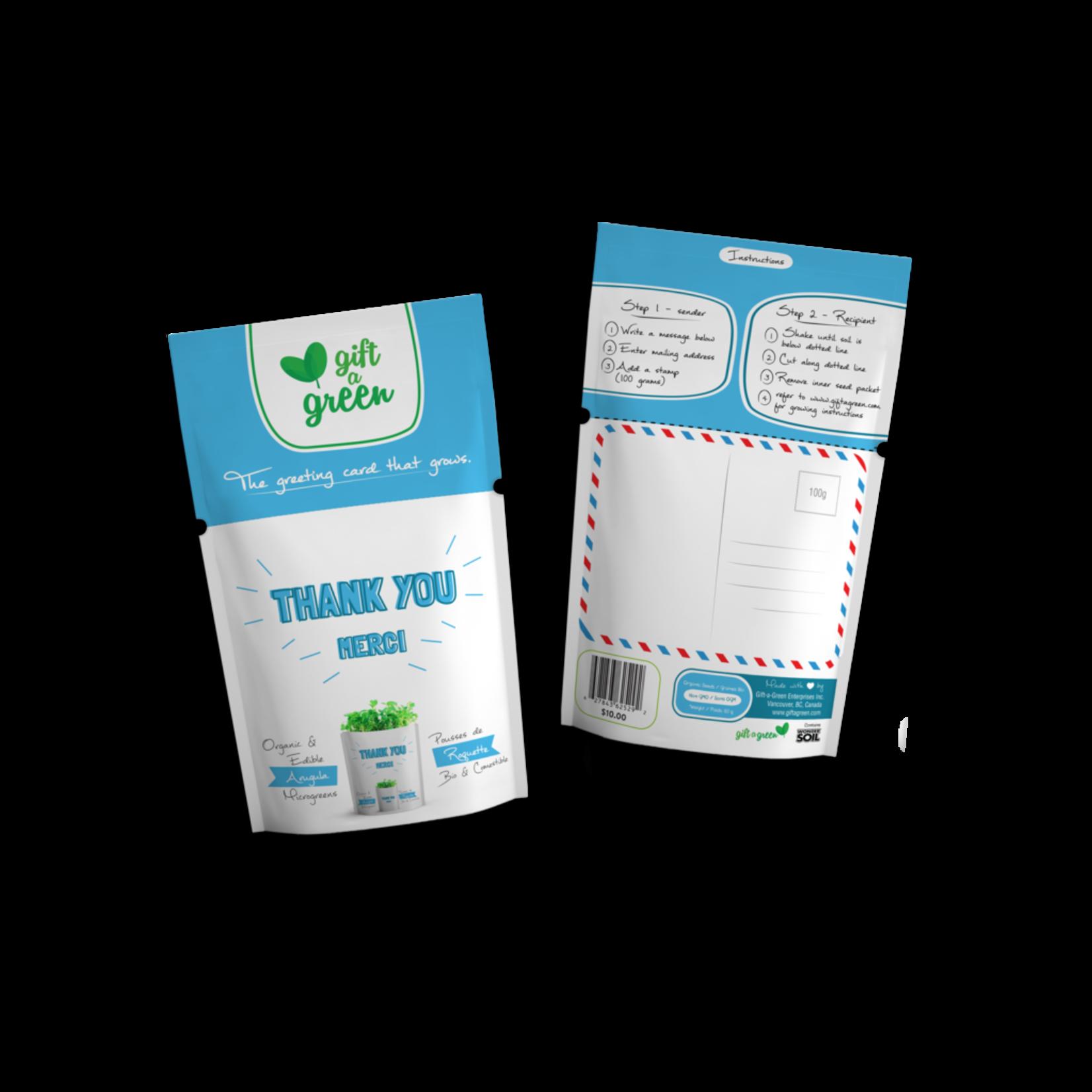 Gift A Green Microgreen Greeting Card Thank You- Arugula Microgreens