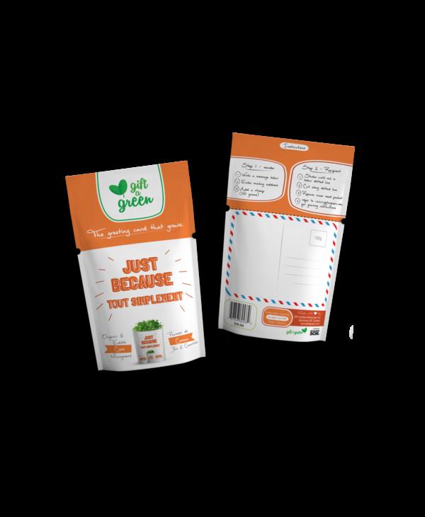 Microgreen Greeting Card Just Because- Cress Microgreens