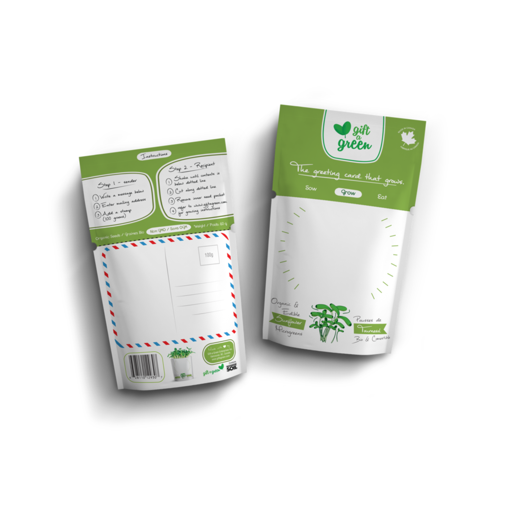 Gift A Green Microgreen Greeting Card Blank Write Your Own- Sunflower Microgreens