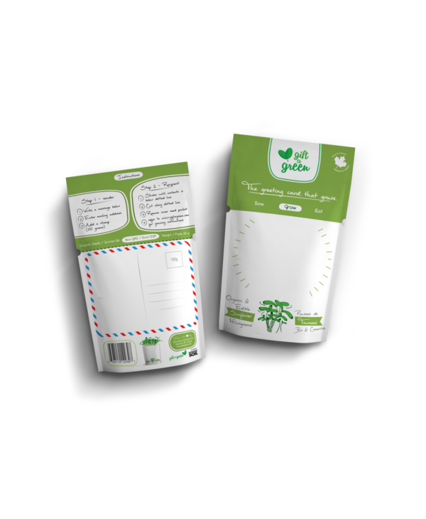 Microgreen Greeting Card Blank Write Your Own- Sunflower Microgreens