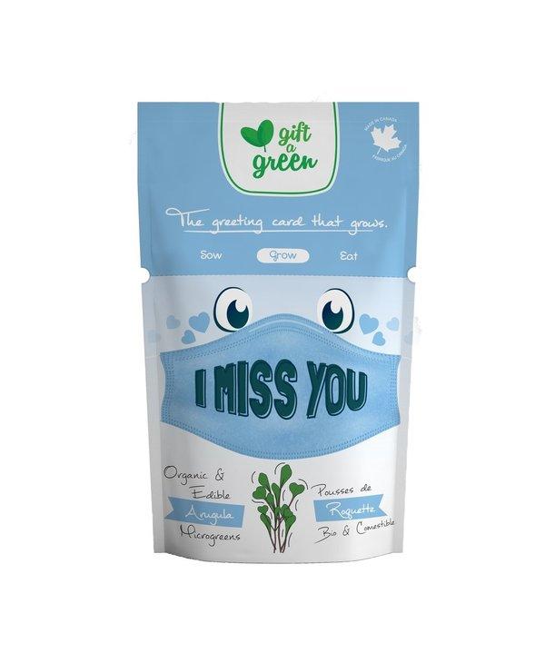 Microgreen Greeting Card I Miss You - Arugula
