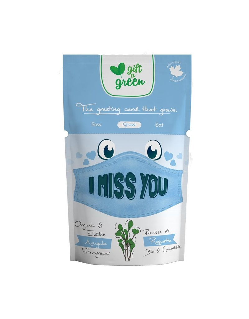 Gift A Green Microgreen Greeting Card I Miss You - Arugula