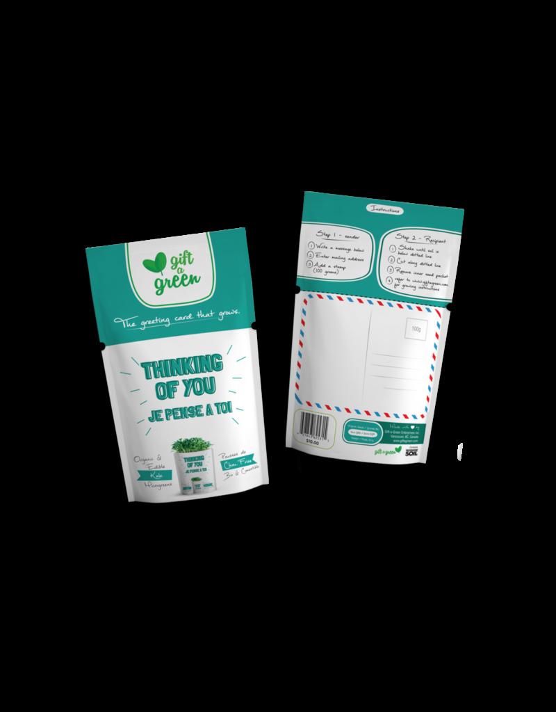 Gift A Green Microgreen Greeting Card Thinking Of You- Kale Microgreens