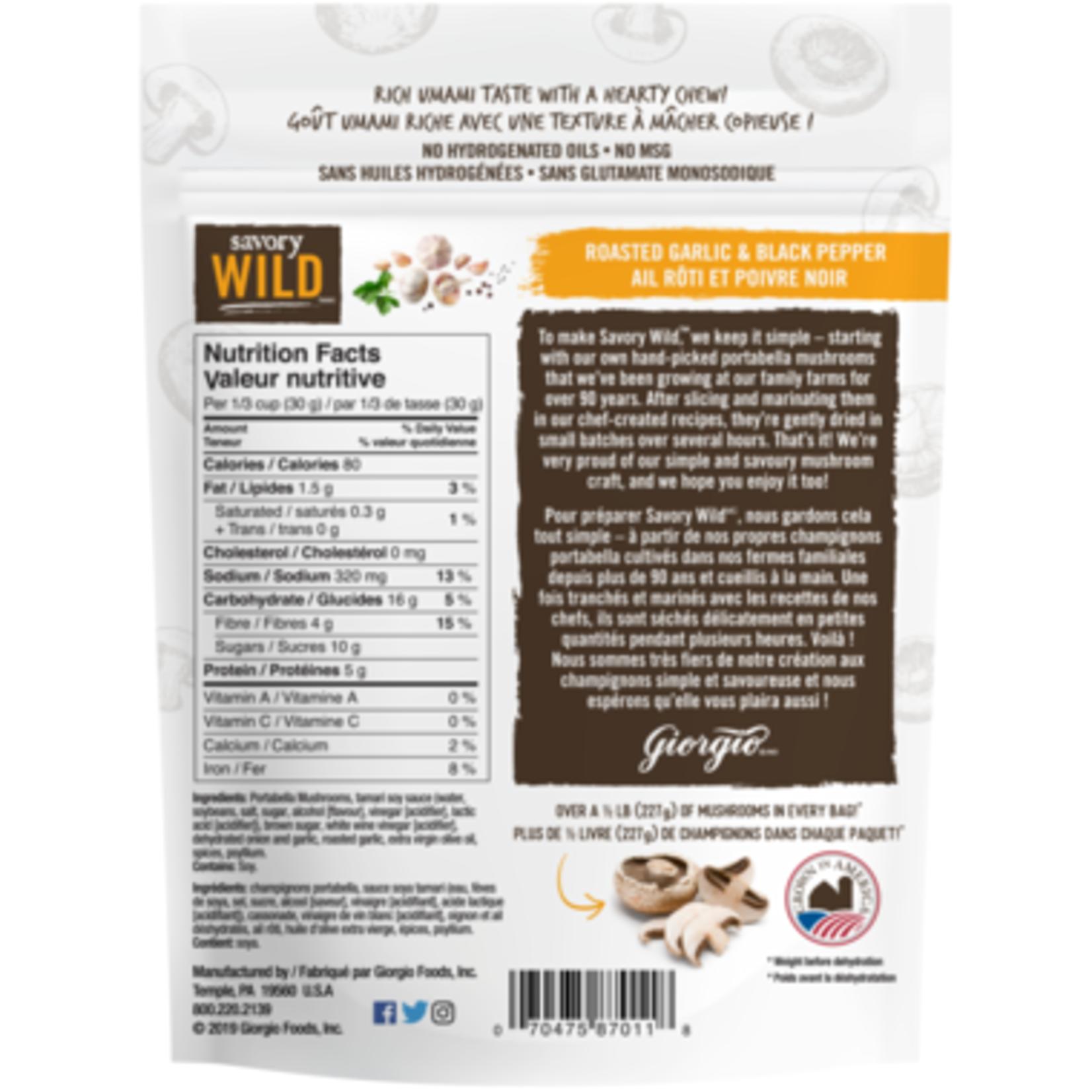 Savory Wild Portabella Mushroom Jerky - Roasted Garlic and Black Pepper 57g