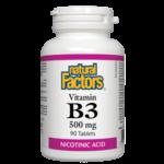 Natural Factors Vitamin B3 500mg Nicotinic Acid 90 tabs