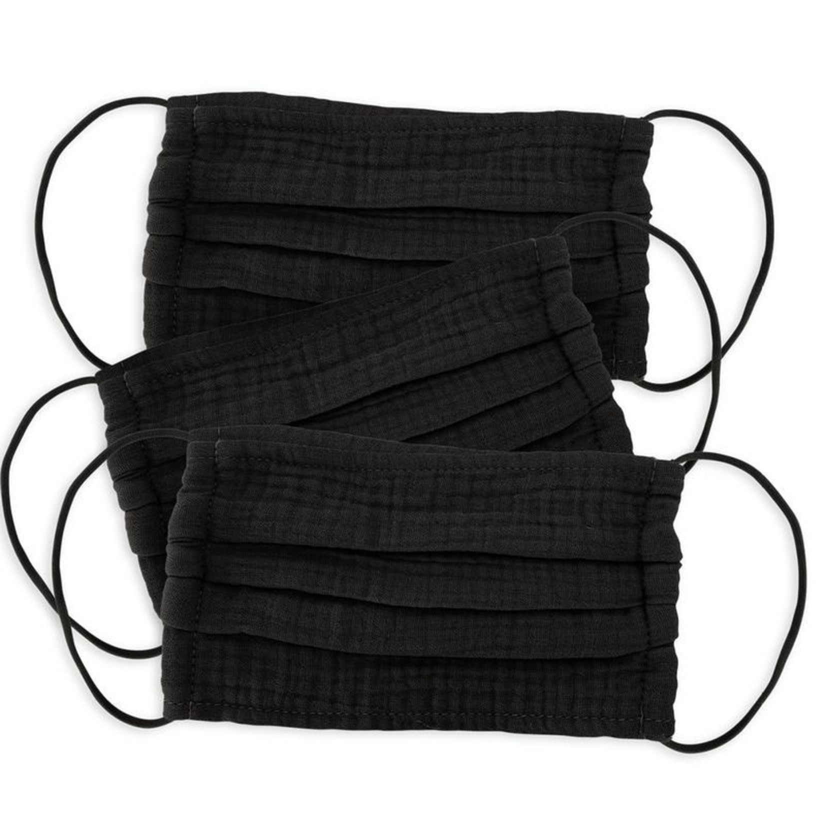 Kitsch 100% Cotton Face Mask 3 Piece Set- Black
