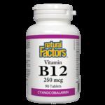 Natural Factors Vitamin B12 Cyanocobalamin 250mcg 90 tabs