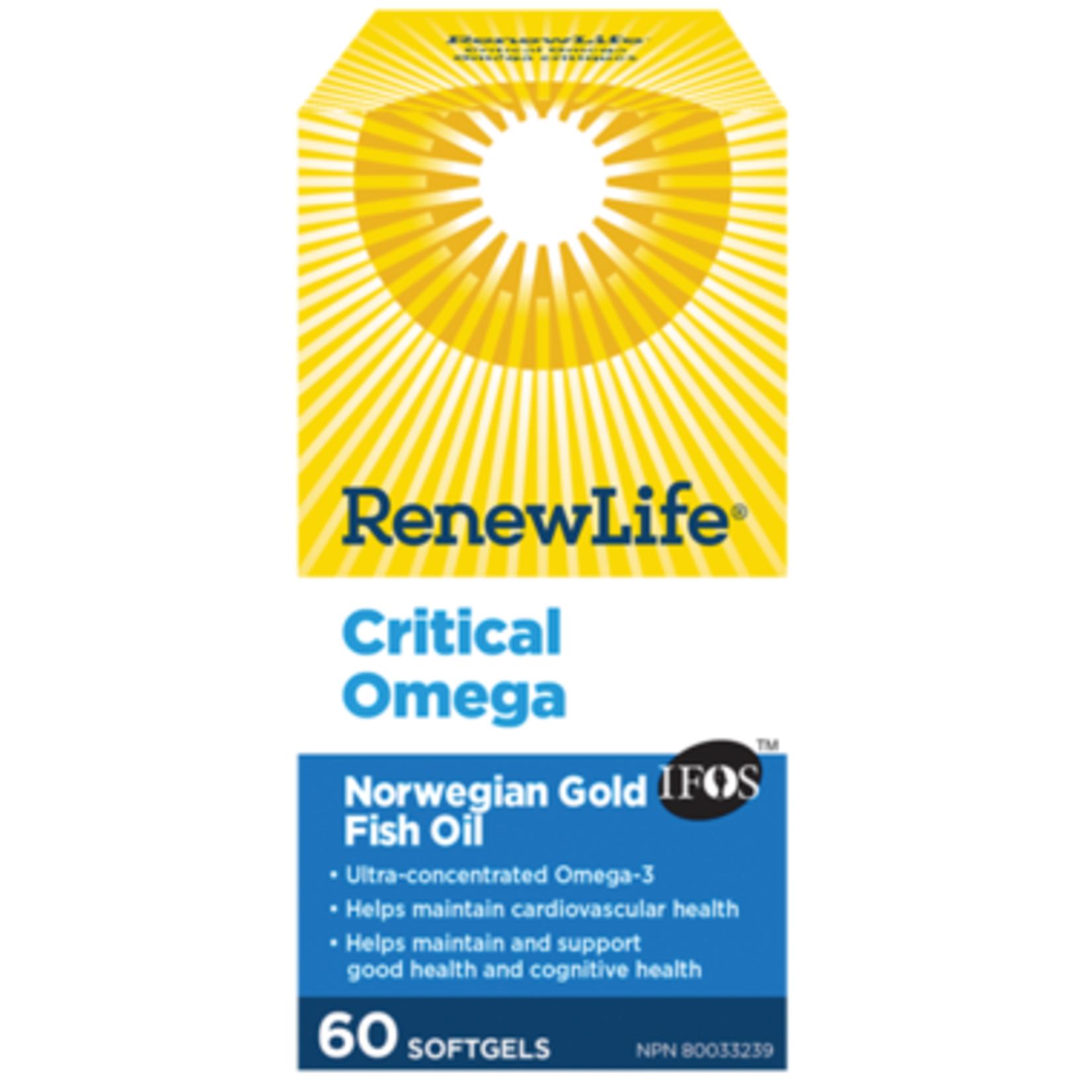 Renew Life Critical Omega Norwegian Gold Fish Oil 60 softgels