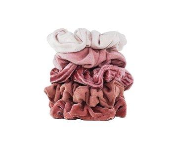 Velvet Scrunchies - Blush and Mauve - 5 pack
