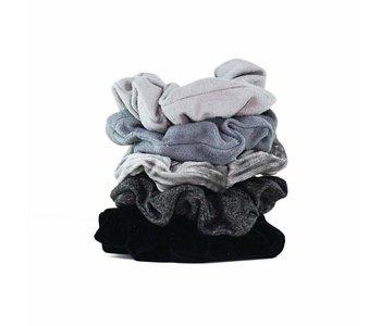 Velvet Scrunchies - Black and Gray - 5 pack
