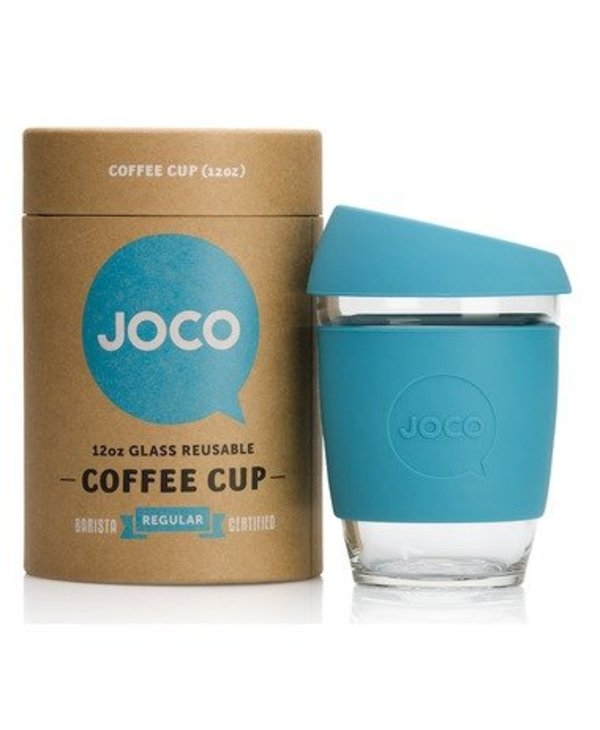 Reusable Glass Cup Blue 12oz