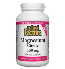 Natural Factors Mag Citrate 150mg Cap 210