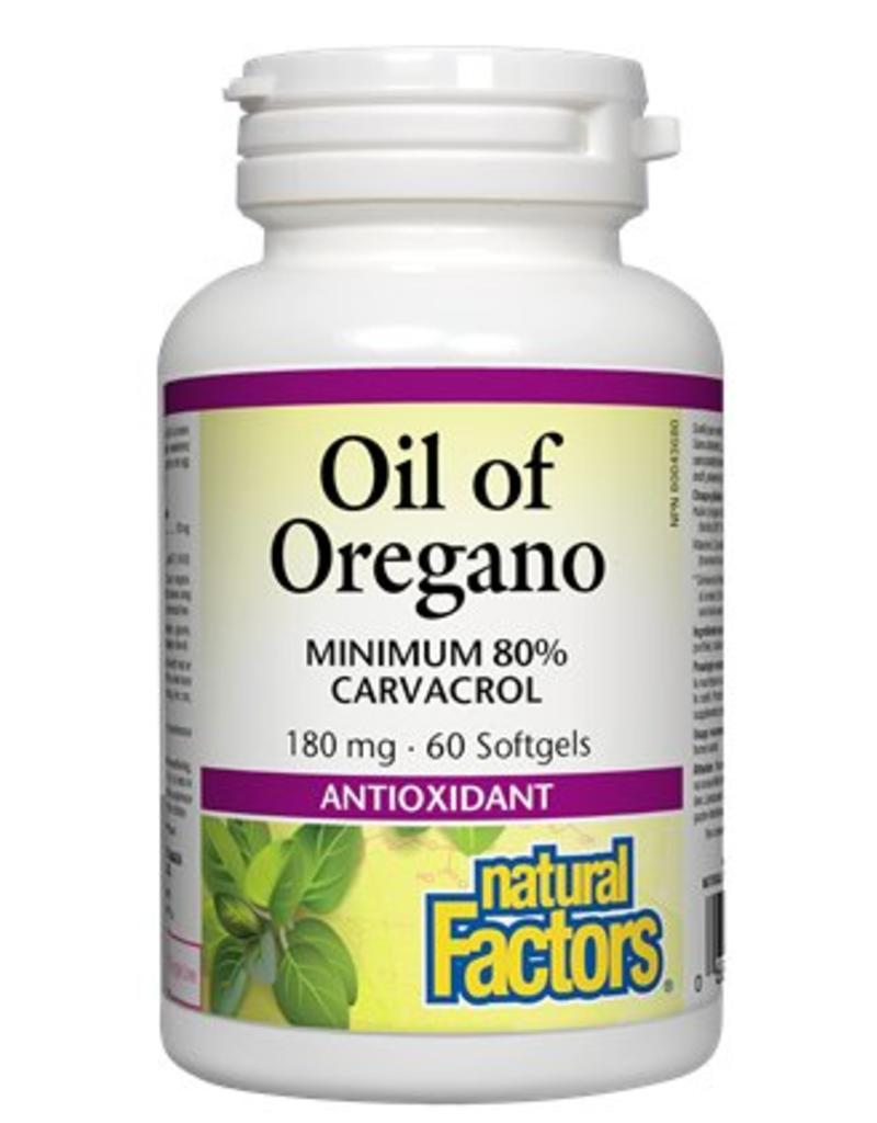 Natural Factors Oil of Oregano 180mg 60 softgels