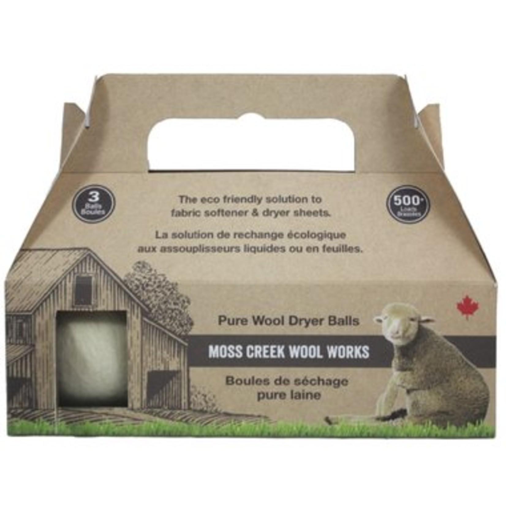Moss Creek Wool Works Pure Wool Dryer Ball- 3 pack