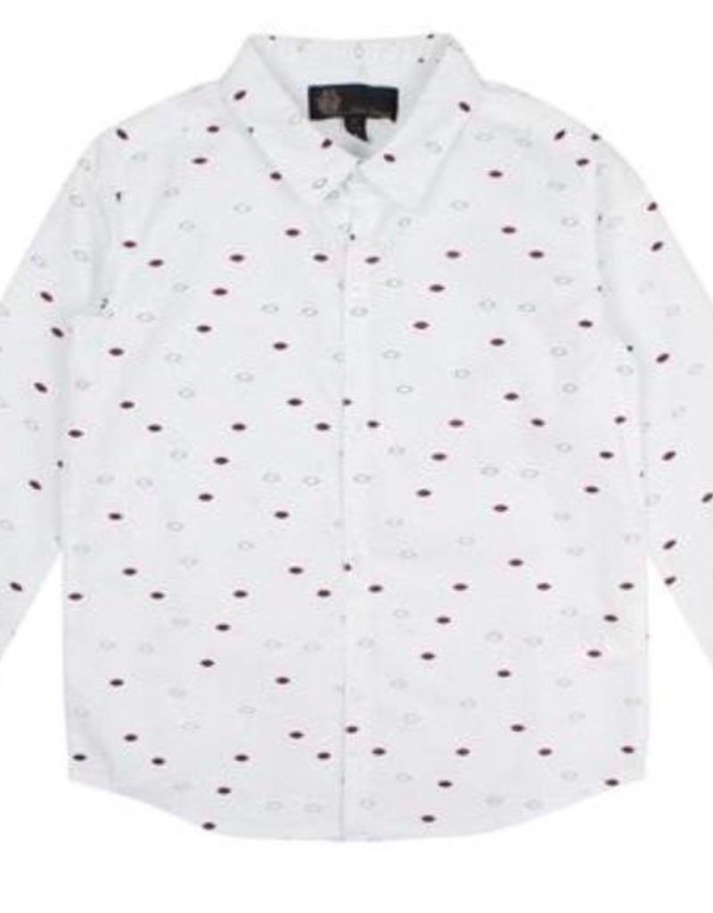 Little Cocoon Maroon Dot Collared Shirt