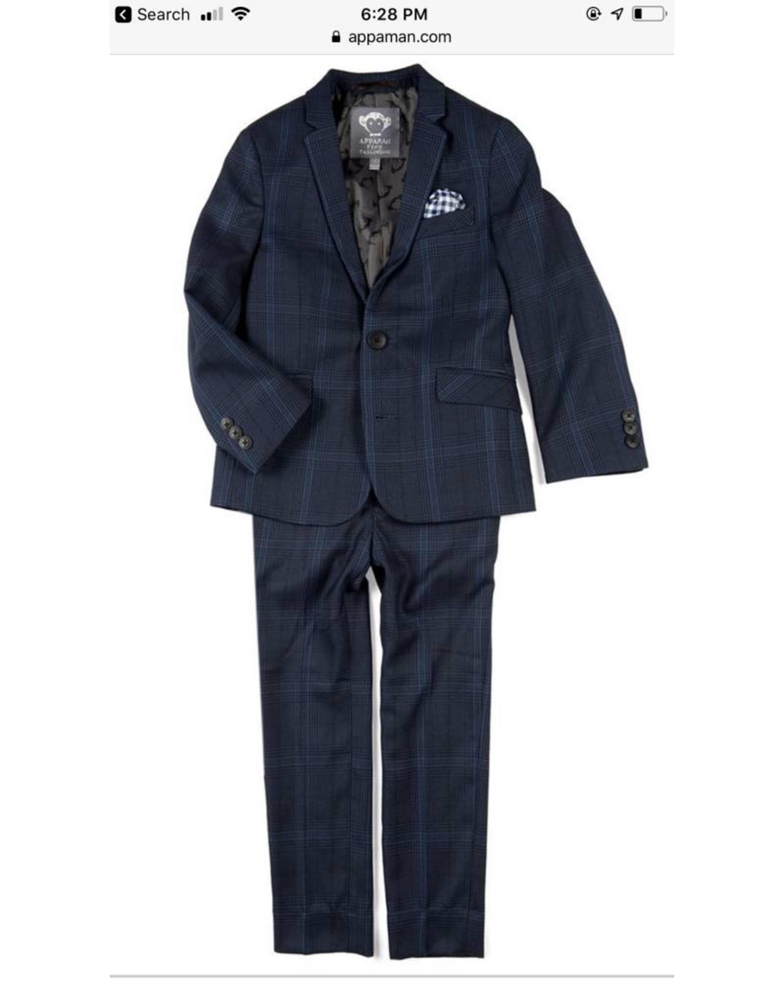 Appaman Appaman Navy Glen Plaid Suit