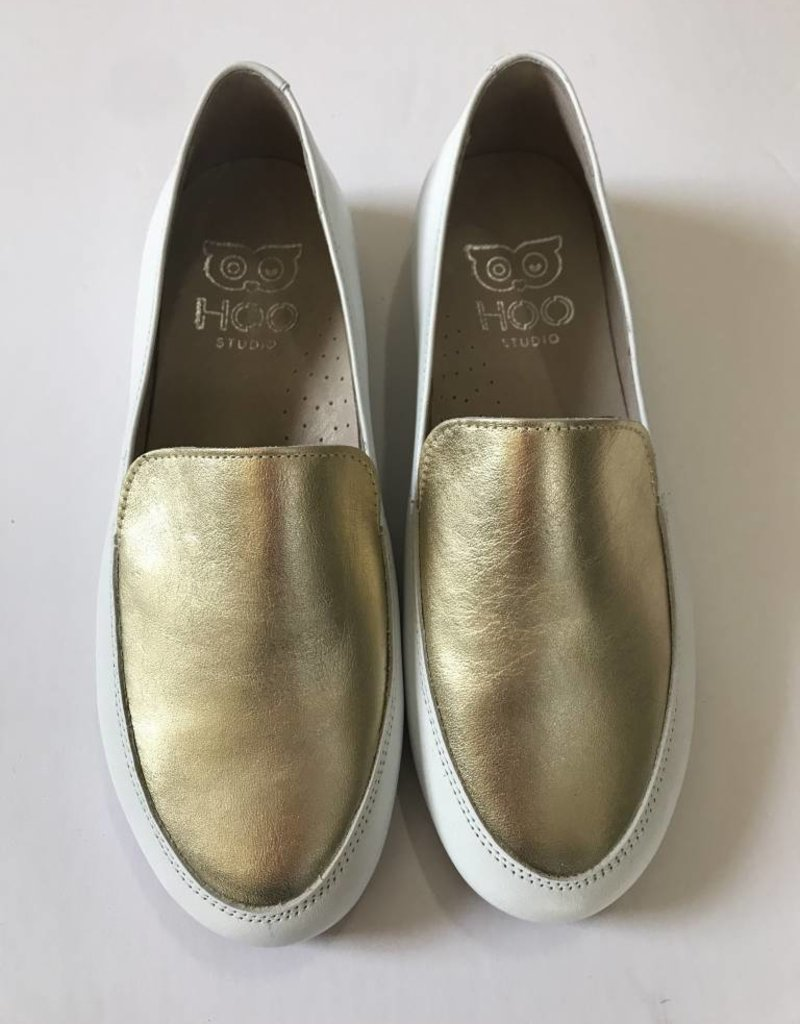 Hoo Hoo White Gold Leather Loafer