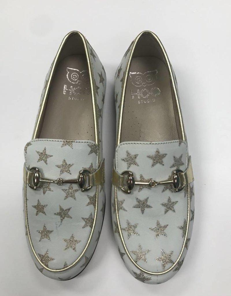 Hoo Hoo White Star Print loafer