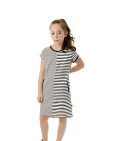 PC3 PC2 girls' black and white stripe dress