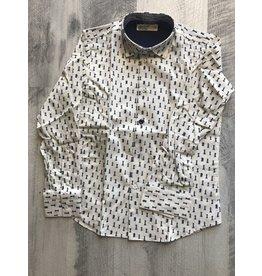 nove Nove Navy Checker Piece Collared Shirt