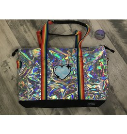 Top Trenz Camp Silver Heart Metallic Tote