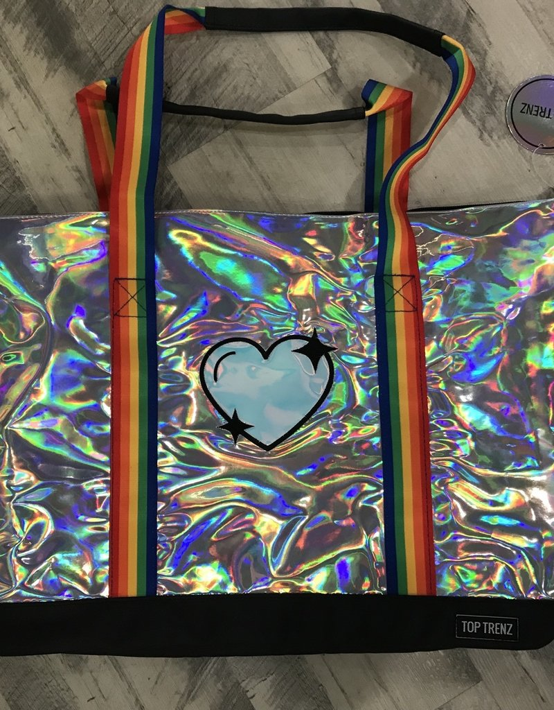 Top Trenz Camp Silver Heart Metallic Tote