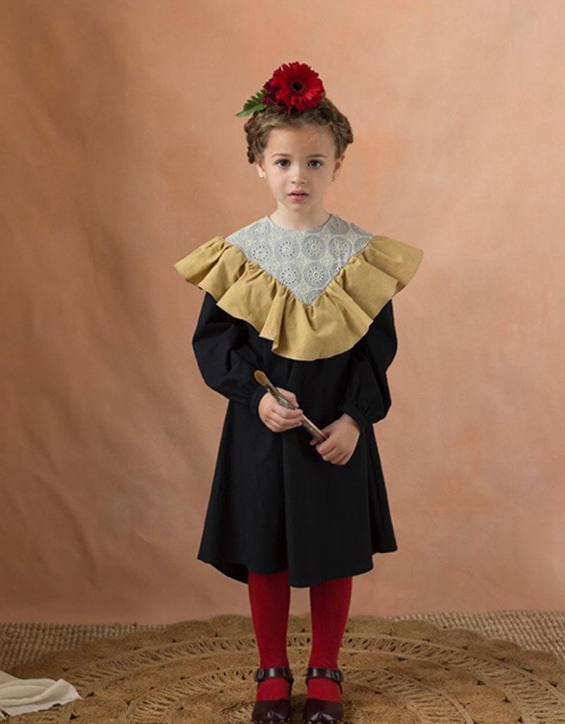 popelin Popelin Ochre Tone Yoke dress W/ Frill