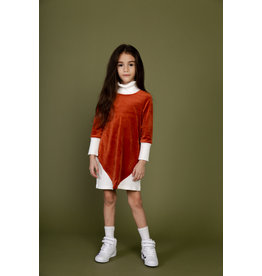 Crew Crew TD2077 Rib Combo Turtleneck Dress Rust