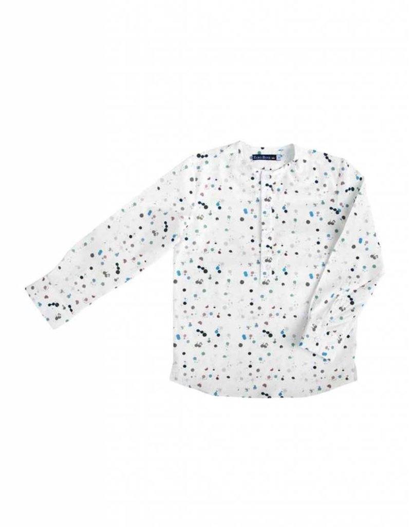 Euro Euro Boys Multi Colored Dot Collarless Shirt