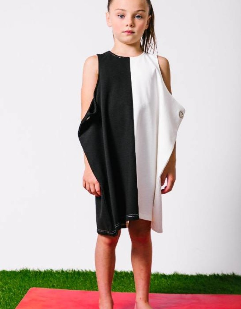 kipp kipp black & white dress