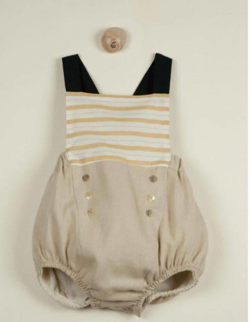 popelin Popelin orche striped sailor reversible dungarees