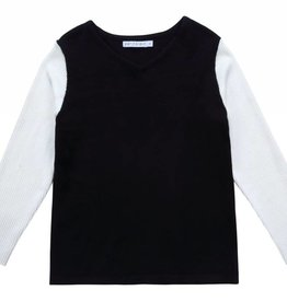 88741b29d Petit clair Petit clair Boys Black and Ivory Contrast Sweater
