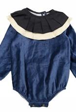 popelin Popelin Blue Ruffled Romper