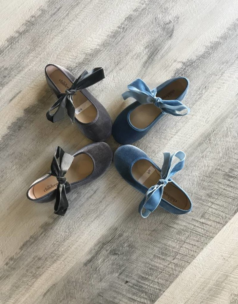 Childrenchic Childrenchic Ribbon Vlvt Blue Ballerina Shoe